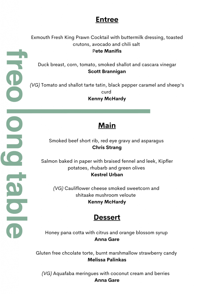 Fremantle Long Table Menu